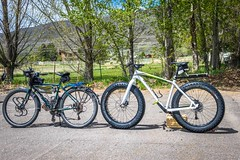 The popular fat bike comparison.  Same wheel size but different tires.  This one was so much fun to ride.