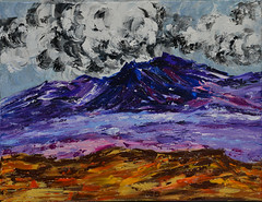 Kim's Purple Mountain (BKHagar *Kim*) Tags: bkhagar art artwork painting paint acrylic mountain purple clouds