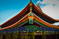 Po Lin Monastery Temple Roof with Dragon - Lantau Island Hong Kong (mbell1975) Tags: hongkong newterritories hk po lin monastery temple roof with dragon lantau island hong kong china sar shrine worship chinese colors color colours statue sculpture