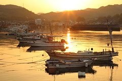 Sunrise (Teruhide Tomori) Tags: sunrise sea japan japon hiroshima port fishingboat harbor takehara morning sun landscape tadanoumi 広島県 竹原 忠海 漁港 太陽 日の出 朝日 朝 海 日本 瀬戸内海 setoinlandsea 風景 seascape