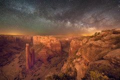 The Milky Way over Spider Rock Overlook, Canyon de Chelly, Arizona (diana_robinson) Tags: milkyway nightphotography nightsky stars rockformation remote noone alone solitude spiderrockoverlook canyondechelly arizona