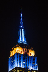 Empire Lit for EU Day (fantommst) Tags: lisaridings fantommst nyc ny newyork usa unitedstates empire state building midtown highrise skyscraper iconic night lights blue yellow euday