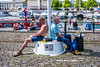 Bristol; June 2018 (Daniel Durrans) Tags: sitting waterfront street flagpole streetphotography pole harbourside summer urban candid canpubphoto bristol topsoff topless pint harbour men