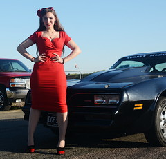 Holly_9183 (Fast an' Bulbous) Tags: classic amrican car girl woman pinup model red wiggle dress high heels long brunette hair nylons stockings hot sexy chick babe nylon american santa pod pontiac transam mopar