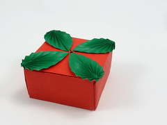 Box with Leaves (tip-to-tip) (Michał Kosmulski) Tags: origami box leaves foliage colorchange michałkosmulski kamipaper red green