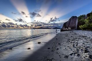 Coucher de soleil sur l'Anse d'Argent