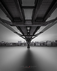 Alter Ego - Millennium Bridge London (Julia-Anna Gospodarou) Tags: londonarchitecture millenniumbridge fineartarchitecturalphotography blackandwhite blackandwhitefineartphotography formatthitechndfilters ndfilters neutraldensityfilters firecrest longexposure waterscape modernarchitecture sunset envisionography photographydrawing phtd reflections juliaannagospodarou