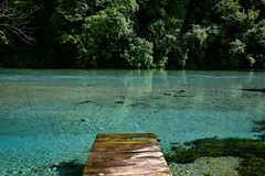 Wonky Jetty (rustyruth1959) Tags: turquoise water outdoor nature trees woodenjetty clearwater bluewater jetty sarande naturalspring spring theblueeye river bistriceriver albania europe tamron16300mm nikond5600 nikon tree forest wood leaf leaves greenery sunshine reflections