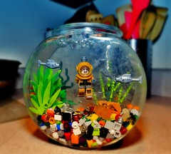 Diver Down (LegoKlyph) Tags: lego custom brick block mini figure build water fish diver divesuit tank bowl wet adventure silly