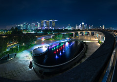 Encompass (benzhtan) Tags: buildings city cityscape evening gardensbythebay night outdoor panorama reflections singapore water dark lights marina barrage marinabay canon canoneos5dmkiv 24f14l