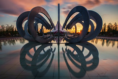 Lovers Park (Andrew G Robertson) Tags: astana kazakhstan sunset lovers park khan shatyr tent reflection architecture астана