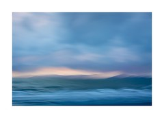 A beach in North Wales (catkin314) Tags: wales northwales snowdonia icm intentionalcameramovement multipleexposure colour sea sky sunset evening eveninglight blue beach