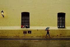 Habana Vieja - Convento Nuestra Senora de Belen 11 (luco*) Tags: cuba la havana habana vieja covento nuestra senora de belen jaune amarillo yellow boys garçons parapluie umbrella rain pluie