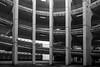 Amphi (pi3rreo) Tags: urban urbain ville city noiretblanc black white fujifilm fujinon france formes façade parking arcades voies voitures cars