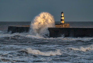 Waves over Seaham Pier..