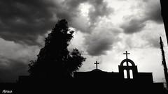 Happy Sunday ⛪ (merna waheeb) Tags: church bw black white orthodox cross christian iraq cloudy