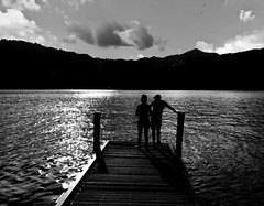 silence... (Eggii) Tags: ortasangiulio island sacromontediorta orta lake pier people monochrome bw italy