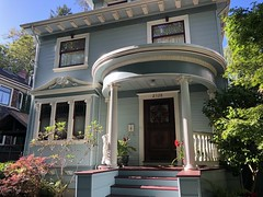 Neo Classic Portico (Melinda Stuart) Tags: house victorian door porch steps windows round columns 20thcentury blue west home dwelling restored historic