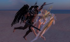 Yin and Yang angels (lawrence celestalis) Tags: angel angels secondlife fight battle good evil beach fantasy cyberpunk celestalis lawrencecelestalis skye donardson