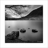 Interlude VIII (Frank Hoogeboom) Tags: unitedkingdom uk rydalwater rydal lakedistrict england british lakes britain cumbria nature longexposure square fineart blackwhite blackandwhite monochrome water tree rocks mountain clouds sky dramatic scenic