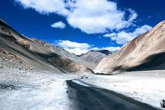 The Road less taken!!! (Bodhisotto) Tags: ladakh pangong tso canon roads blue sky nubratopangong