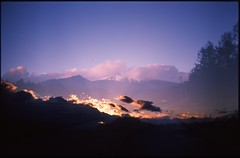(✞bens▲n) Tags: pentax lx provia 100f at200 fa 35mm f2 film analogue slide multiexposure asama mountain evening clouds road nagano japan