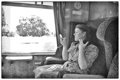 Girl on a Train. (Adrian Walker.) Tags: elements 1940s girl train carrage bw canon tamron svr wartime glamour posed photoshoot