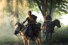 Monks on horses