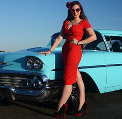 Holly_9222 (Fast an' Bulbous) Tags: classic american car oldtimer chevy chevrolet pinup model girl woman wife hot sexy red wiggle dress stockings high heels shoes long brunette hair people outdoor nikon santa pod