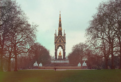 the new 70s (Sabrina-Romano) Tags: analog film retro vintage filter photography photograph photoshop london park bare trees branch monument green noise effect people 35mm nikond90 unitedkingdom uk panorama view nature hyde albert memorial