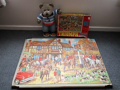 Tally Ho! (pefkosmad) Tags: jigsaw puzzle hobby leisure pastime vintage missingpieces tedricstudmuffin teddy ted bear animal toy cute cuddly fluffy plush soft stuffed