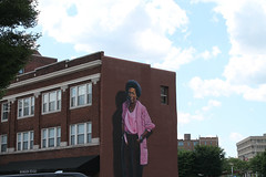 Mari Evans (Flint Foto Factory) Tags: indianapolis indiana urban city late spring early summer may 2017 memorialday weekend indianapolis500 race downtown hoaglintogo cafe market mari evans marievans poet mural large scale 448 massachusetts avenue brick building store front publicart clouds cloudy