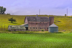 Hillside Barn (nikons4me) Tags: iowa ia barn hillside old faded corn field nikond200 nikonafsdx18200mmf3556gifedvr clouds claytoncounty farm