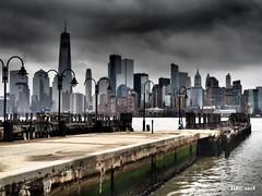 NYC Skyline - Storm Clouds (DRC over 2.8 Million Views) Tags: newyorkcity hudsonriver bay pier clouds stormy