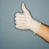 Stock Images (perfectionistreviews) Tags: color indoors studioshot bodypart onepersononly square protection science scientist rubbergloves gloves hands hand latexgloves gesture praise thumbsup encouragement confidence satisfaction signlanguage doctor medical caucasian photograph healthcare
