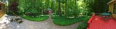My Back Yard (davidwilliamreed) Tags: back yard gravel pathway picnic table barn deck furniture panorama pano iphone ivy