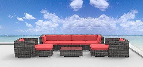 Cheap Urban Furnishing – FIJI 9pc Modern Outdoor Backyard Wicker Rattan Patio Furniture Sofa Sectional Couch Set – coral red