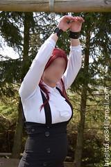 Handcuffed (brigitta.cd) Tags: crossdresser sissy secretary blouse jabot bondage handcuffed