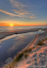 Lake Michigan ... streaming sunset (Ken Scott) Tags: backpage gillspierarea beach sand reflection sunset stream leelanau michigan usa 2018 june spring 45thparallel hdr kenscott kenscottphotography kenscottphotographycom freshwater greatlakes lakemichigan