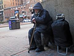 BostonParkaandCane (fotosqrrl) Tags: boston massachusetts streetphotography urban statestreet station orangeline entrance washingtonstreet cart cane maninneed