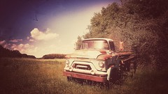 we are professional grade...(HTT) (BillsExplorations) Tags: rust gmc truck truckthursday classictruck oldtruck psychosilosaloon illinois langley bar retired display sky trees field saloon old retro snapseed