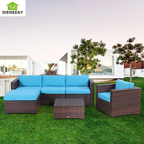 Cheap Diensday 6 Pc All-Weather Cushioned Outdoor Patio PE Rattan Wicker Sofa Sectional Furniture Set Clearance Lawn Backyard Furniture,Blue Cushions (6 piece,Mixed Brown)