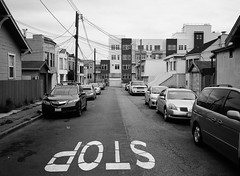 Outer Mission // San Francisco (bior) Tags: fujifilmga645zi ga645zi ilfordfp4plus125 fp4 fp4plus ilfordfilm sanfrancisco 6x45cm 645 mediumformat filmphotography film outermission homes houses rowhouse street powerlines