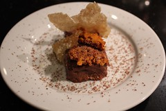 Chocolate & Peanut Butter Delice with Butter Tuille and Honeycomb