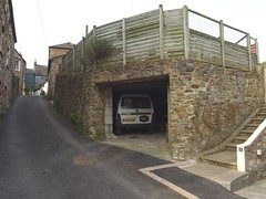 Beneath the beer garden (Phil Gayton) Tags: road wall building vehicle van steps chapellane pub albert inn bridgetown brewery totnes devon uk