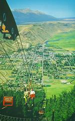 Jackson, Wyoming, from Snow King Chairlift (Thomas Hawk) Tags: america jackson jacksonhole snowking snowkingchairlift usa unitedstates unitedstatesofamerica wyoming chairlift fromsnowkingchairlift postcard skilift fav10