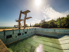 Summertime II (Ulmi81) Tags: madeira atlantis abandoned swimming pool tower highboard diving platform low water level deep summer summertime sun day lost place wide angel hot island former leisure fresh concrete