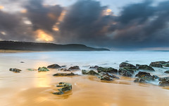 Soft, Slow and Rocky Seascape (Merrillie) Tags: daybreak nature water nsw rocky sea clouds newsouthwales rocks earlymorning morning landscape centralcoast ocean australia sunrise waterscape coastal outdoors sky seascape dawn coast cloudy waves killcarebeach killcare