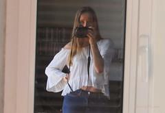 SP ... (MargoLuc) Tags: window reflection me self portrait girl woman blond hair blue eyes panasonic camera dmcfz2000 white black natural light jeans sunlight relax lake lagodicomo italy