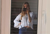 SP ... (MargoLuc) Tags: window reflection me self portrait girl woman blond hair blue eyes panasonic camera dmcfz2000 white black natural light jeans sunlight relax lake lagodicomo italy